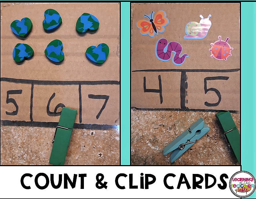 Count and Clip cards made from cardboard