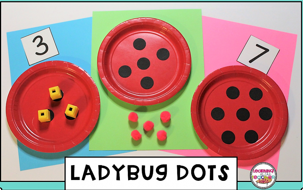 Ladybug plates with dots for counting