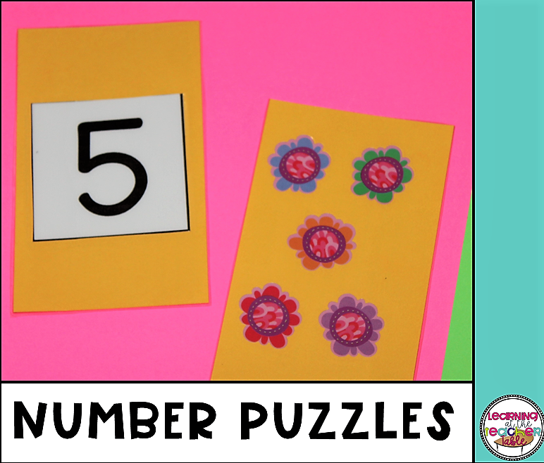 Spring math activities for preschool number puzzles