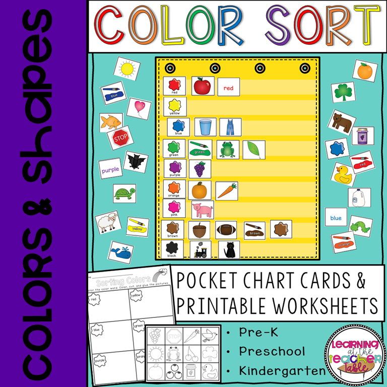 Sorting by Colors Pocket Chart activity